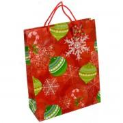 Punga pentru cadou rosie cu globuri verzi