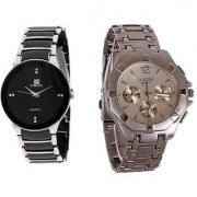 Rosra Round Dial Black & Silver Metal Strap Quartz Watch for Men (Combo of 2)