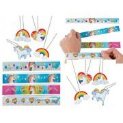 Happy Deals Unicorn Party Favor Set / 12 Dog Tag Necklaces Slap Bracelets
