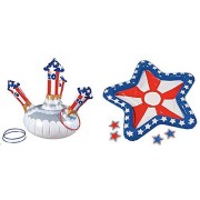 Inflatable Patriotic Toss Game and Ring Toss Set (2 Piece Set) 4th Of July