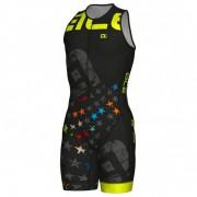 Alé - Women's Sleeveless Unitard Long Triathlon Stelle - Pantalon de vélo taille L, noir