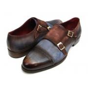 Paul Parkman Cap Toe Double Monk Strap Shoes Antique Blue & Brown Suede 045AN14
