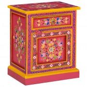 vidaXL Нощно шкафче, мангово дърво масив, розово, ръчно рисувано