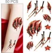 50 Pcs Halloween Terror Realista Lesiones Cicatriz Herida Sangre Tatuaje Temporal Etiqueta Engomada Del