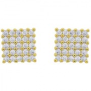 18k Gold Yo yo Honey Singh Style Inspired Square Cubic Zircons cz HQ Earrings Studs