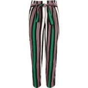 River Island Girls Green stripe tie waist tapered trousers - Size 12 Y