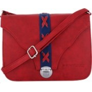 Fantosy Women Casual Red Leatherette Sling Bag