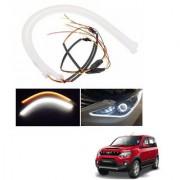 Auto Addict 2PCS 60cm (24 ) Car Headlight LED Tube Strip Flexible DRL Daytime Running Silica Gel Strip Light DC 12V Soft Tube Lamp Fancy Light (Yellow White) For Mahindra NuvoSport