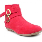 Vaniya shoes Red Mid Calf Bootie Boots