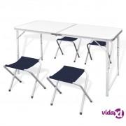 vidaXL Komplet 4 sklopive stolice za kampiranje prilagodive visine