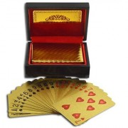 Right traders Gold Plated Poker Playing Card With Wooden Box