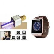 Clonebeatz DZ09 Smartwatch and Q7 Microphone Karrokke and Bluetooth Speaker for LG g2 lite(DZ09 Smart Watch With 4G Sim Card Memory Card  Q7 Microphone Karrokke and Bluetooth Speaker)