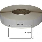 Etiketter på rulle, papper, högblanka för bläck, 32 mm bärbana, bobin 76 mm, 30 x 60mm, 2000 st