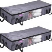 Pretty Krafts Blanket Cover with Side Handles Long Underbed Storage Bag, Storage Organizer, F1523P_Grey2(Grey)