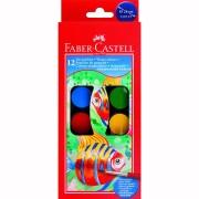 Acuarele + pensula, 12 culori/set, 24mm, FABER CASTELL