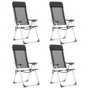 vidaXL Cadeiras de campismo dobráveis 4 pcs alumínio preto