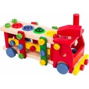 Jucarie interactiva Montessori Camion Sortator Cu Scule Si Bile Din Lemn - Krista and reg