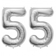 Stylewell Solid Silver Color 2 Digit Number (55) 3d Foil Balloon for Birthday Celebration Anniversary Parties