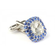 Mousie Bean Crystal Cufflinks Paved Square 117 Crystal Sapphire