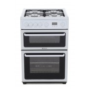 Hotpoint HAG60P Gas Cooker with Double Oven - White