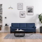 vidaXL 3-местен диван, син, текстил