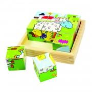 Puzzle cubic Animale Domestice, 9 cuburi din lemn, dezvolta abilitati kinestezice