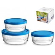 Set 3 cutii alimente sticla Pasabahce Polar rotunde cu capac