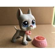 Mini Pet Shop Littlest Lps #1688 Rare Grey Great Dane Dog Puppy Blue Eyes Rare Collection Kids Girls Gift
