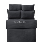 Lenjerie de pat damasc cu 6 piese culoarea negru