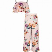 River Island Girls Pink floral print layer crop top outfit
