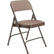 National Public Seating Steel Folding Chairs with Fabric Padded Seat and Back - Set of 4, Walnut/Brown, Model 2207