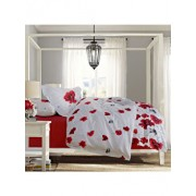 Lenjerie de pat, Dormisete, 2 persoane, renforce, imprimata, 220 x 230 cm, Poppy Field-chili pepper, bumbac, Alb/Rosu