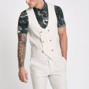 River Island Mens Cream linen blend double breasted waistcoat
