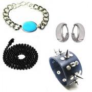 Salman Khan Bracelet & Kundal bali Earrings With Black Ball Chain & Poky Black Cuff Bracelet For Men/Boys/Guys