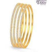Sukkhi Classy Gold Plated Set Of 4 Australian Diamond Single Line Bangle