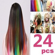 24 PCS Color OPCC Bundle 22 Inches Multi-Colors Party Highlights Colorful Clip In Synthetic Hair Extensions 1PCS Opcc Sticky Notes included