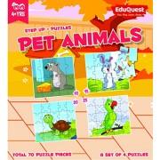 EduQuest - Jigsaw Puzzle - Pet Animals - 4+ years old - Set of 4 puzzles - 10,15,20,25 piece puzzles - Mice(10 piece), Rabbit/Bunny(15 piece), Turtle(20 piece), Parrot(25 piece)