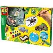 Детски креативен комплект за отливки и оцветяване - Плашещи животни, SES, 080638
