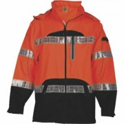 ML Kishigo Premium Black Series Class 3 High Visibility Rain Jacket - Orange, S/M, Men's