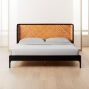 Miri Black and Rattan King Bed by CB2