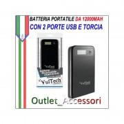 Batteria Esterna Portatile Power Bank Vultech 12000mah con Torcia e LED Carica Bianca PB-12000N