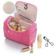 Kanha Portable Beauty Organizer Case, Toiletry Cosmetic Bag Men Women Travel Large Waterproof Makeup Bag In Blue Color Travel Toiletry Kit pink(Pink)
