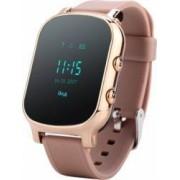 Ceas smartwatch pentru copii si adulti Wonlex GW700/T58 cu functie telefon, buton SOS, WiFi, maro