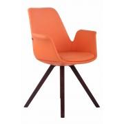Timwood Experience Sedia da pranzo PRINCE in similpelle, gambe quadrate, arancione CLP, arancione, altezza seduta