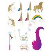 16 Accesorios para photocall unicornio brillantina Única