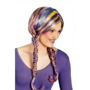 Merkloos Feestartikelen gekleurde pruik met vlechtjes/staartjes verkleedaccessoire voor dames/volwassenen