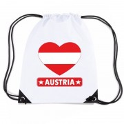 Bellatio Decorations Oostenrijk hart vlag nylon rugzak wit