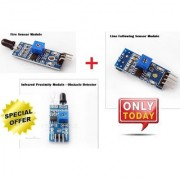 Techamazon-Fire Sensor Module +Obstacle Detector+Line Following Sensor Module - 3qty