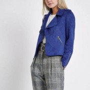 River Island Womens Petite Blue faux suede cropped trench jacket - Siz