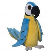 Nature Plush Planet Blauwe papegaaien knuffel groot 38 cm